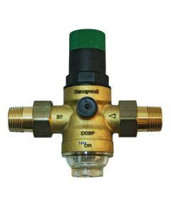 """Druckminderer Messing Honeywell (Wasser) 1 1/4"""" mit Klarsichtfiltertasse / ohne Manometer"""