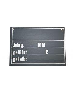 Stalltafel grau/schwarz 25x18 cm mit weisser Schrift Pavatex 3mm